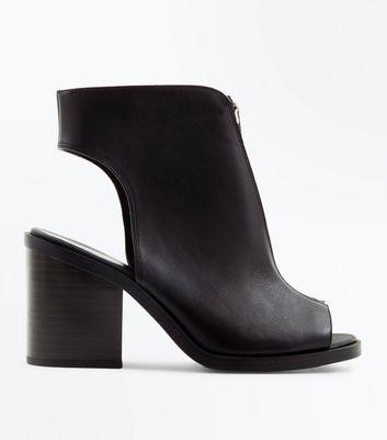 Black Leather Zip Front Peep Toe Heels