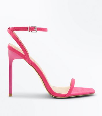 Bright Pink Suedette Barely There Stiletto Sandals