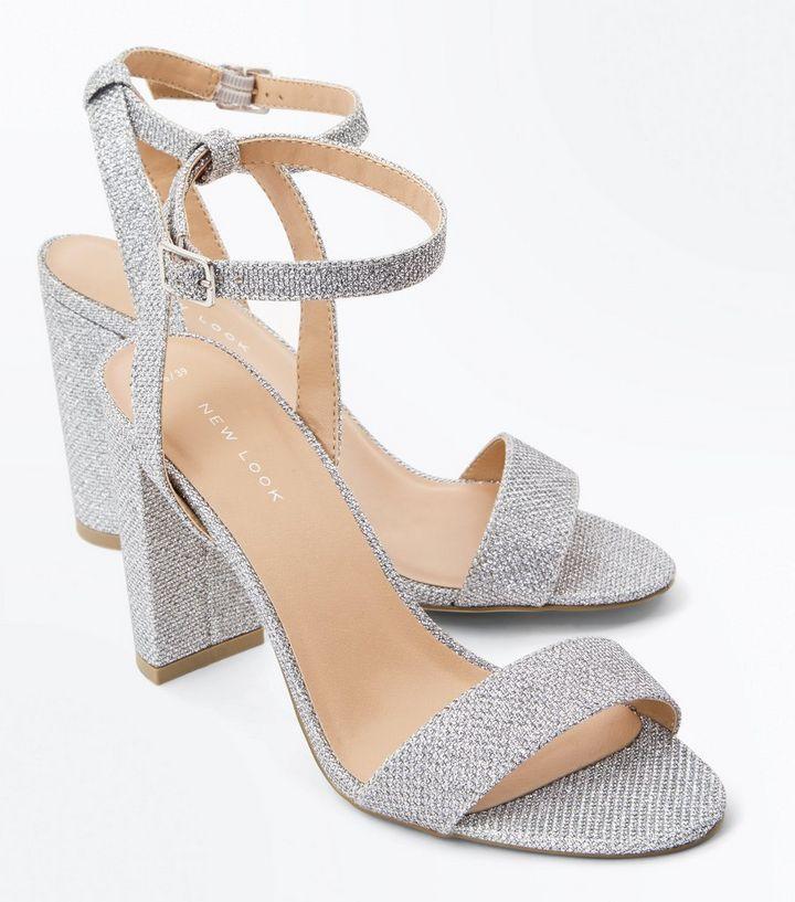 a470262cfc4 Silver Glitter Block Heel Sandals