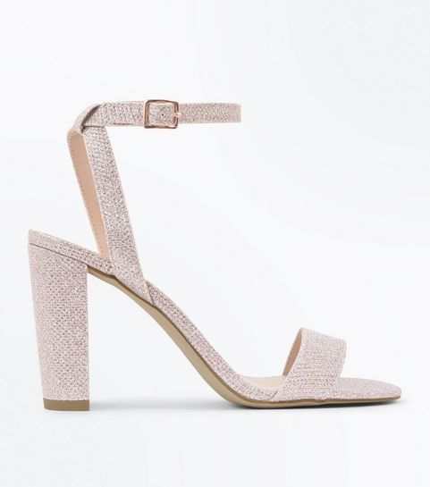 950901d69a9 ... Rose Gold Glitter Block Heel Sandals ...