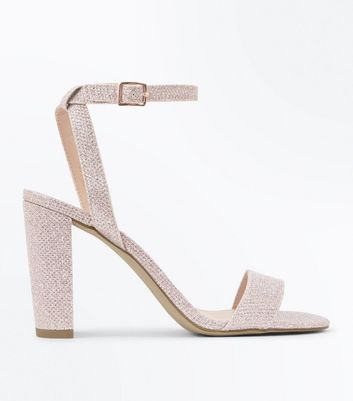 Rose Gold Glitter Block Heel Sandals by New Look