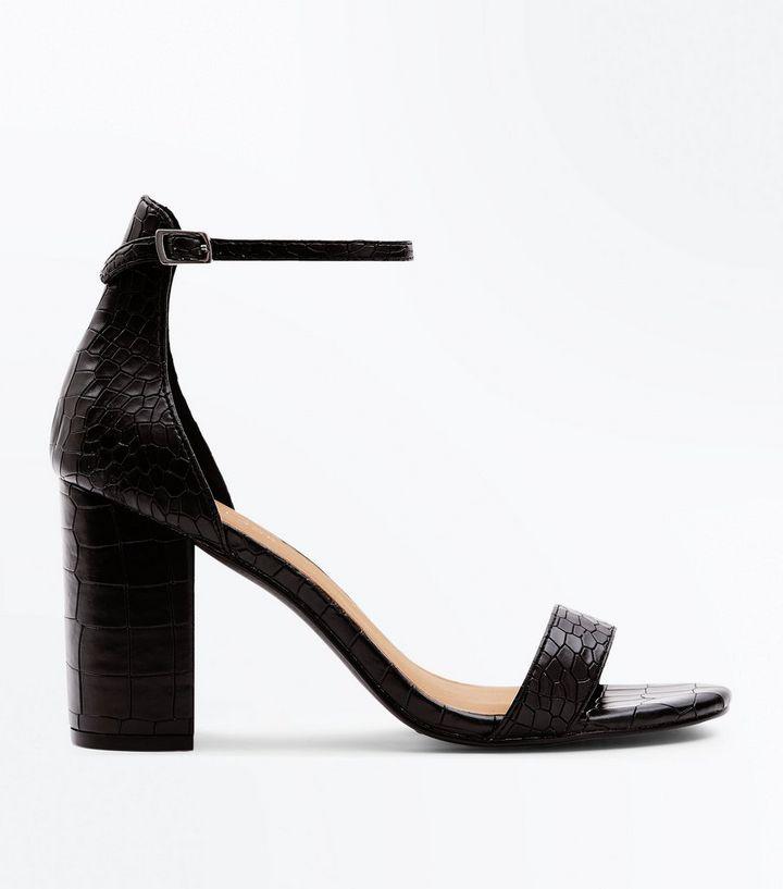 69566aec14a Black Faux Croc Block Heel Sandals