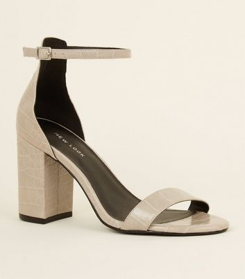 Grey Faux Croc Block Heel Sandals