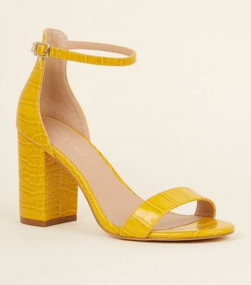Yellow Faux Croc Block Heel Sandals