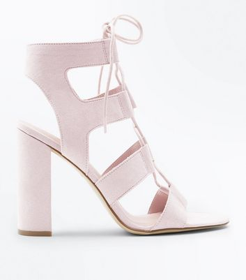 Nude Suedette Lace Up Cut-Out Block Heels