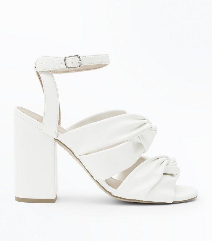 7c9302a2046 White Knot Strap Block Heels