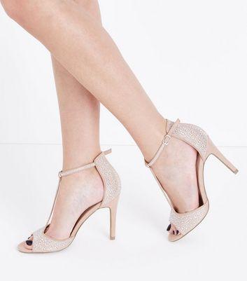 Nude Suedette Diamante Embellished T-Bar Heels New Look