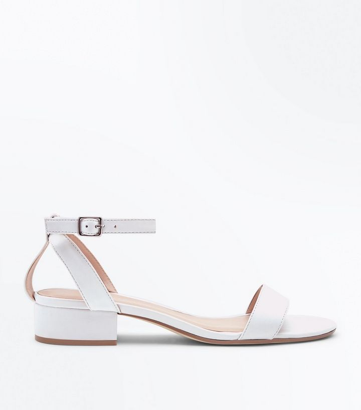 271b921c9932 White Low Block Heel Two Part Sandals