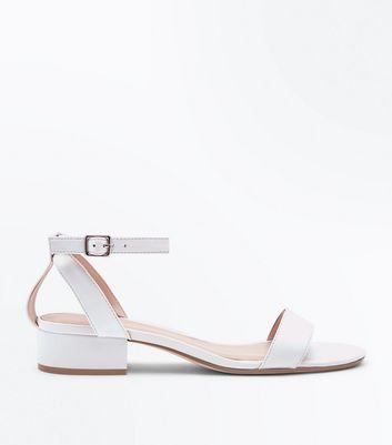 White Low Block Heel Two Part Sandals