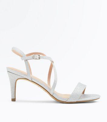 Silver Glitter Strappy Low Heel Sandals