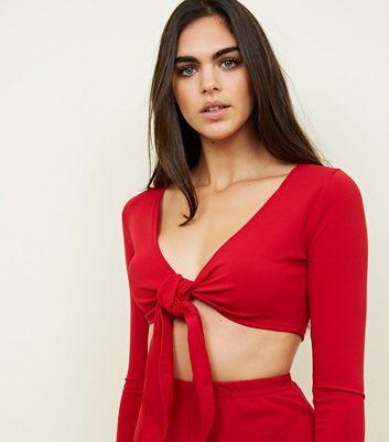 Pink Vanilla Red Tie Front Crop Top New Look