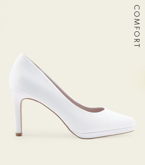 Wedding shoes wedding sandals heels new look off white satin round toe wedding courts junglespirit Choice Image