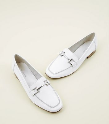 White Leather Bar Front Loafers   New Look