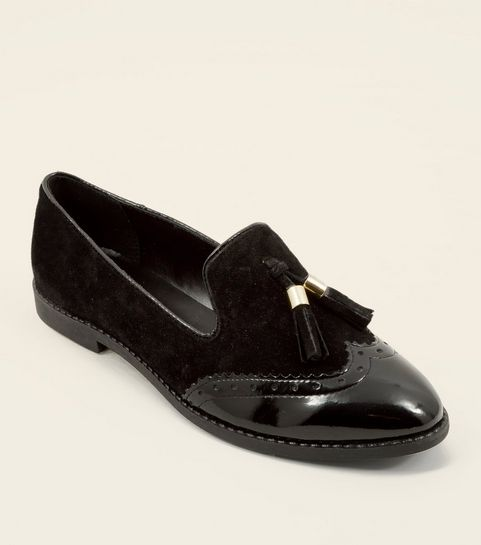 6582e69ee42c ... Black Suede Contrast Panel Tassel Loafers ...
