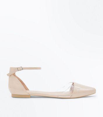 Sandales plates roses à détail transparent sur le devant New Look