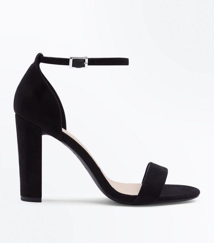 d1a7c0e58a8 Wide Fit Black Suedette Ankle Strap Block Heels