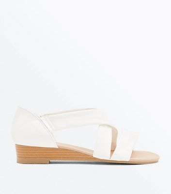 Wide Fit White Low Wedge Sandals   New Look