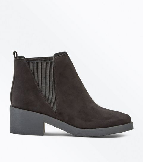 ce5f690be2ff4 ... Black Suedette Elasticated Side Ankle Boots ...