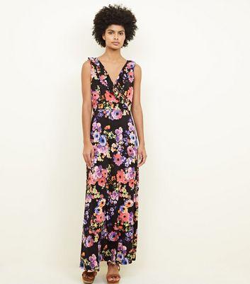 Mela Black Floral Frill Trim Maxi Dress New Look