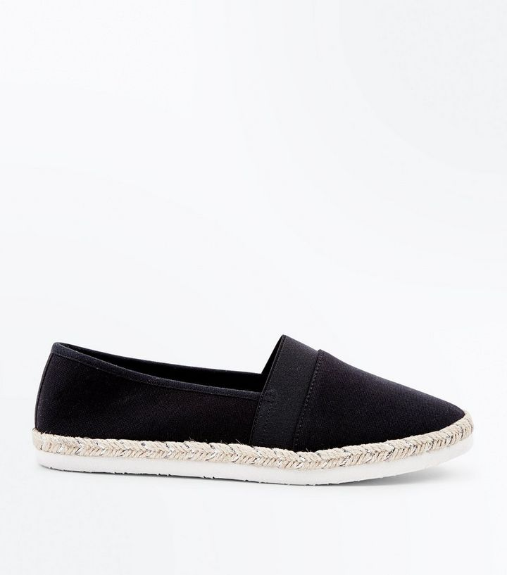 eb77b54a4 Wide Fit Black Canvas Espadrilles | New Look
