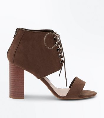 Wide Fit Khaki Suedette Two Part Ghillie Heels