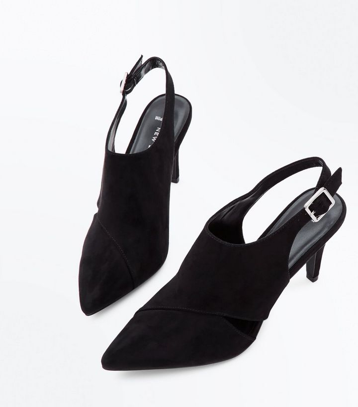 a9808cb5d96 ... Wide Fit Black Suedette Pointed Heeled Slingbacks. ×. ×. ×. Shop the  look