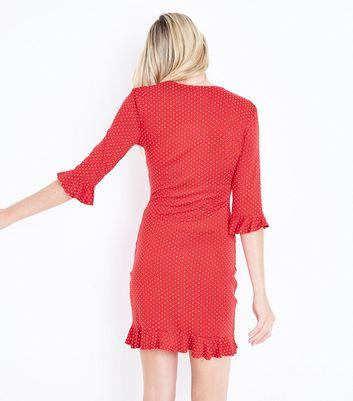 Pink Vanilla Red Polka Dot Frill Hem Dress New Look