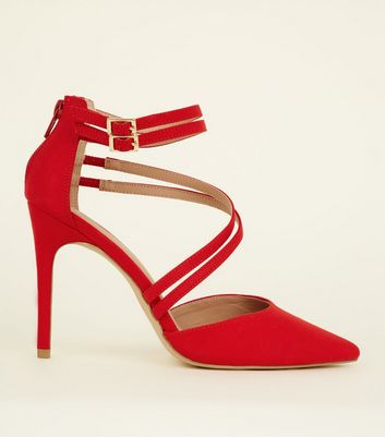 Wide Fit Red Suedette Asymmetric Strap Pointed Heels