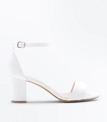 White Satin Block Heel Sandals