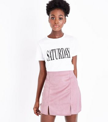Pink Vanilla Pale Pink Suedette Skirt New Look