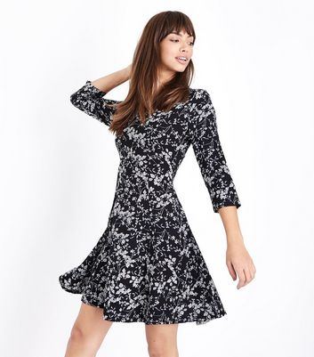 Blue vanilla black ditsy floral skater dress new look jpg 720x817 Vanilla  skater dress 4f0bd26a8