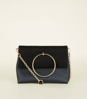 Black Leather-Look Ring Handle Shoulder Bag