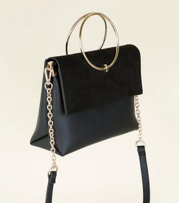 Black Leather-Look Ring Handle Shoulder Bag New Look