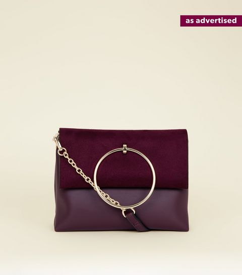 Burgundy Leather Look Ring Handle Shoulder Bag