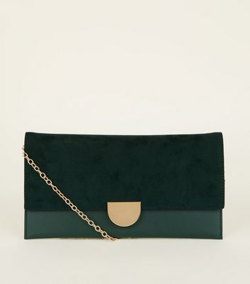 Green Suedette Panel Clutch Bag