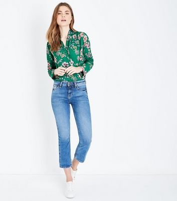 Green Floral Wrap Front Bodysuit New Look