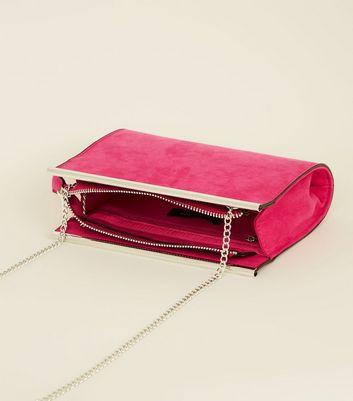 Bright Pink Suedette Bar Top Shoulder Bag New Look