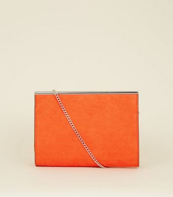 Bright Orange Suedette Bar Top Shoulder Bag