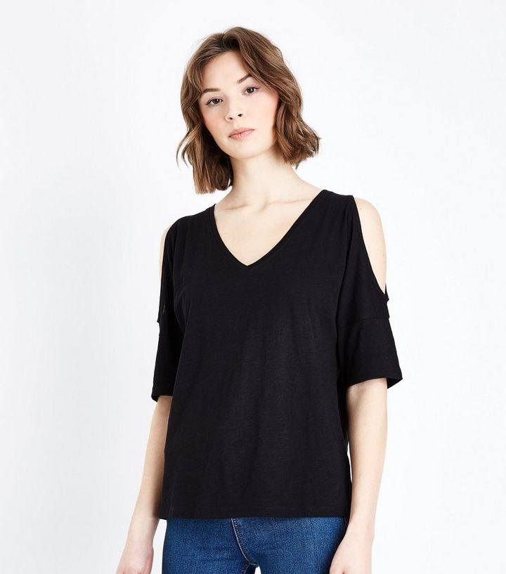 87ba959c8cb94d Black Organic Cotton V Neck Cold Shoulder T-Shirt