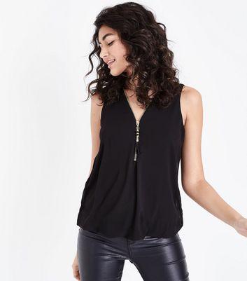 Mela Black Tassel Zip Sleeveless Blouse New Look