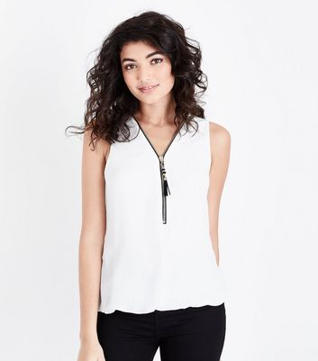 Mela White Tassel Zip Sleeveless Blouse