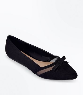 Wide Fit Black Mesh Panel Pointed Pumps