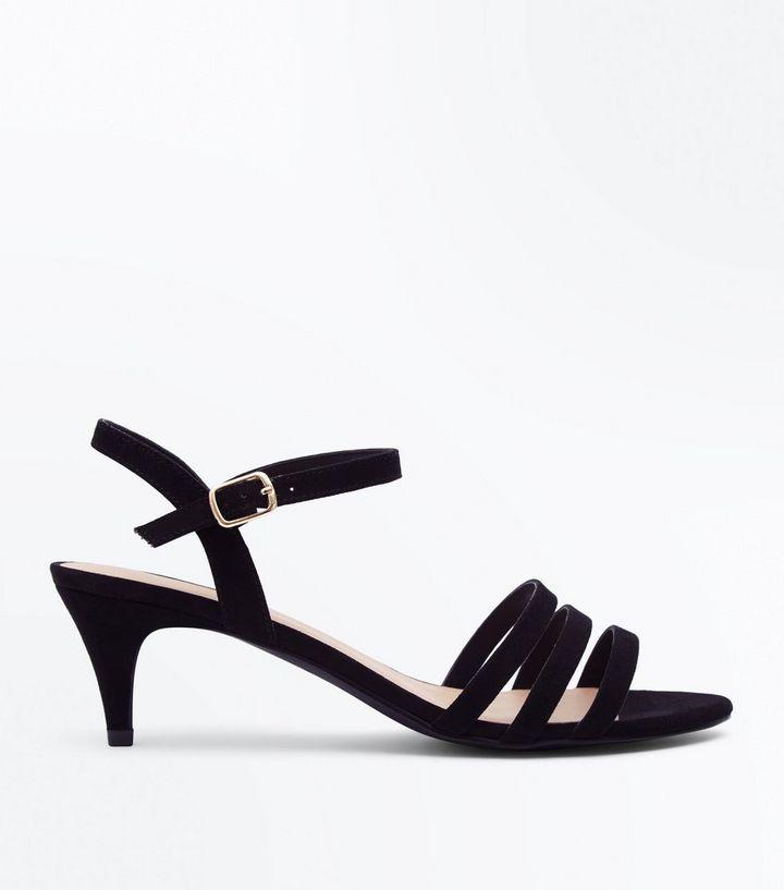 877ecb009096 Wide Fit Black Strappy Kitten Heel Sandals