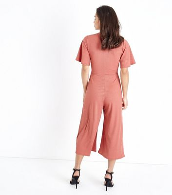 Petite Rust Tie Front Ribbed Culotte Jumpsuit New Look