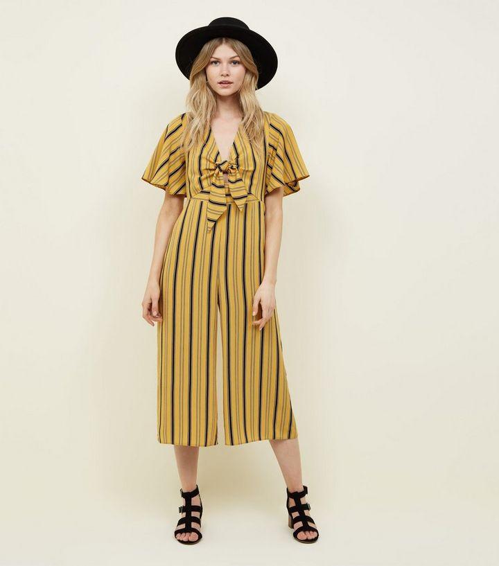 df4e60f6e089 Petite Mustard Stripe Tie Front Jumpsuit