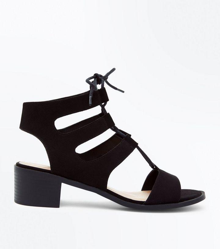 7996f1cbc20a Wide Fit Black Suedette Low Heel Ghillie Sandals
