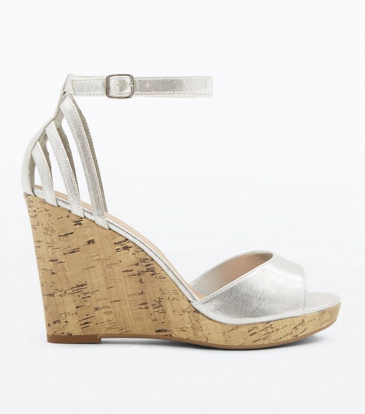 b0ca75cdd22 Wide Fit Silver Cage Back Cork Wedges
