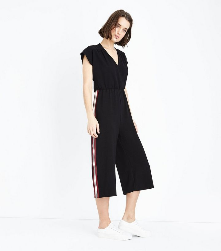 fab0c1cf4eb Black Wrap Front Side Stripe Culotte Jumpsuit