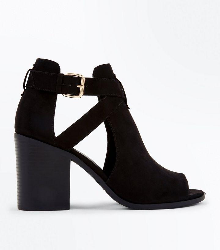 7436ce02521 Wide Fit Black Cut Out Suedette Heel Sandals
