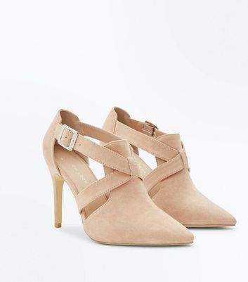 Wide Fit Nude Suedette Pointed Cut Out Shoe Boots New Look